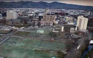 The lot where a new convention centre will be built in downtown Christchurch.