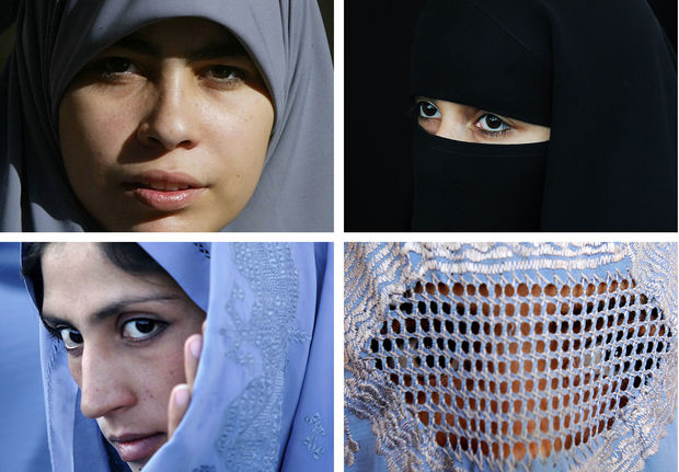 Muslim women wearing various types of Islamic veils: a hijab (top L), a niqab (top R) a tchador (bottom L) and a burqa.