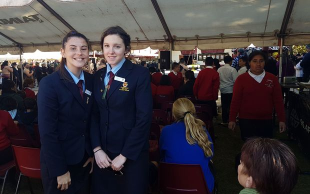 Leah Bell (right) with schoolmate Tori van der Hayden at Koroneihana