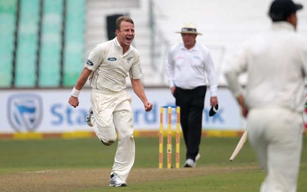 New Zealand bowler Neil Wagner in action during the first cricket test match against South Africa at the Sahara Cricket stadium in Durban.