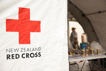Red Cross tent set up in Havelock North