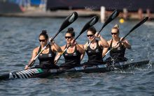 Womens K4 crew Aimee Fisher, Jaimee Lovett, Caitlin Ryan and Kayla Imrie in action at the Rio Olympics Games.