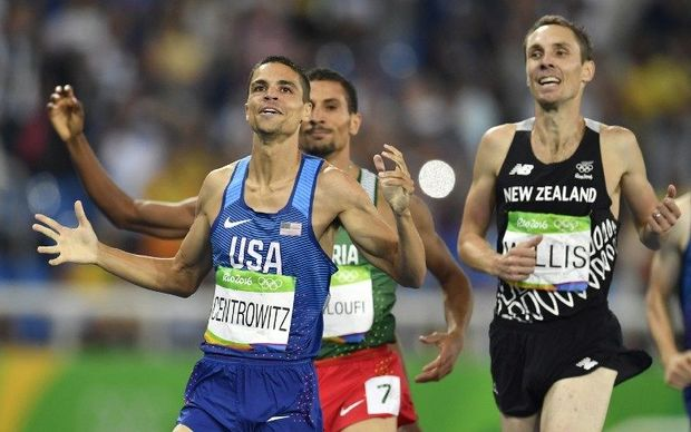 Nick Willis crosses the line in third place in the men's 1500 metre final at the Rio Olympics, behind gold winner Matt Centrowitz of the USA.