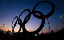 Rio olympic rings at night