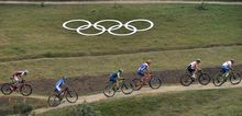 Riders compete in the cycling mountain bike men's cross-country race at the Rio Olympics.