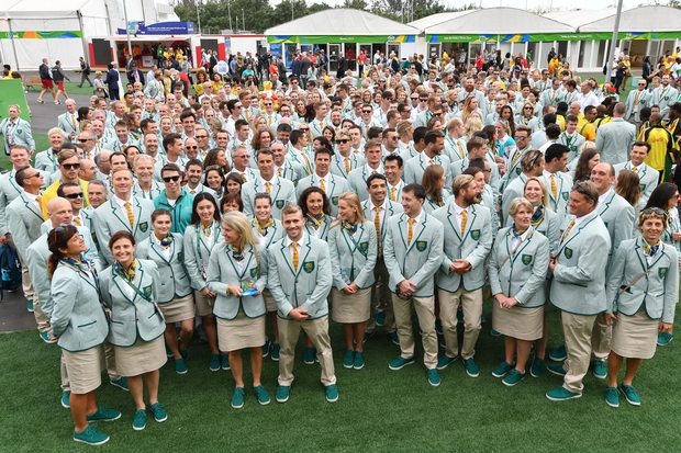 The Australian Olympic team at the athletes village in Rio