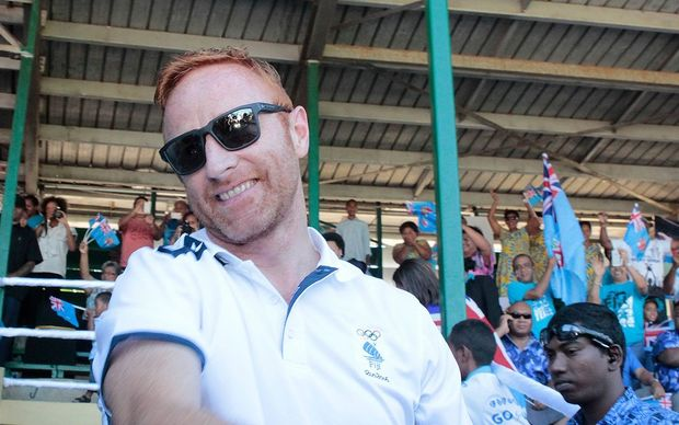 Fiji coach Ben Ryan during Fiji's Olympic gold medal celebrations.