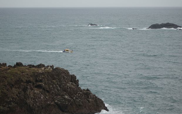 The Coastguard searching near Lion Rock where the man was last seen.