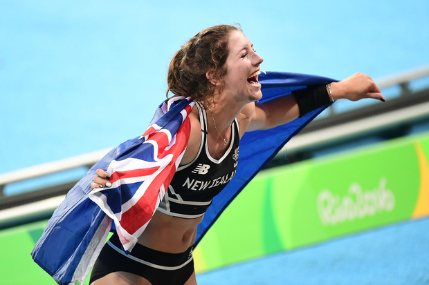 Pole vaulter Eliza McCartney celebrates after winning bronze at the Rio 2016 Olympics.