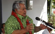 The Samoan Prime Minister Tuila'epa Sa'ilele Malielegaoi speaks at the launching of the new Talofa Airways at Fagalii airport on August 22 2016