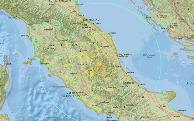 The quake hit southeast of the city of Perugia.