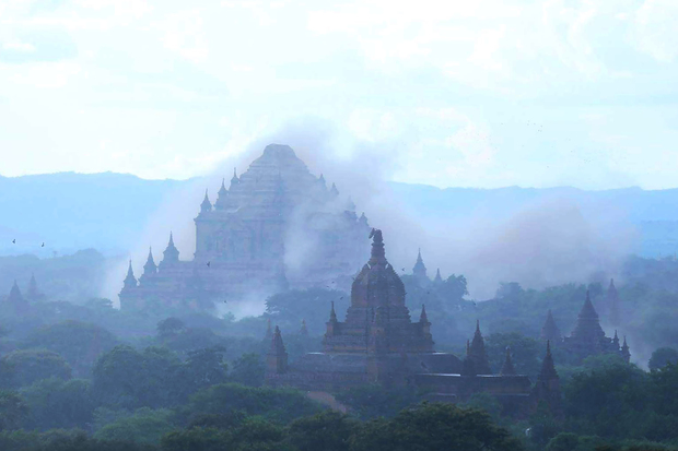 The ancient Sulamuni temple shrouded in dust as a 6.8 magnitude earthquake hit Bagan in central Myanmar.