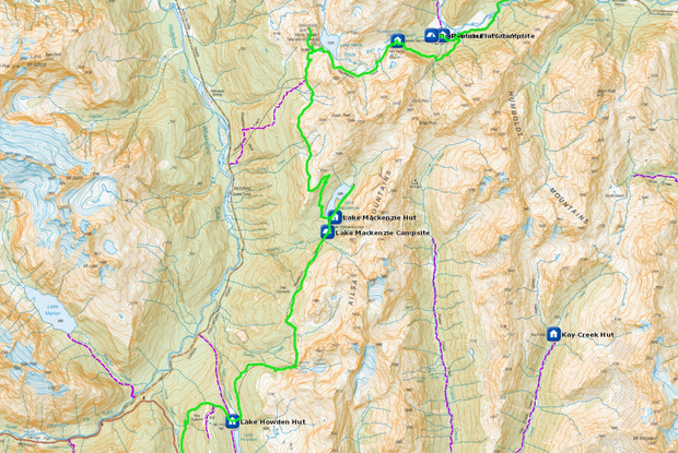 DOC Routeburn map