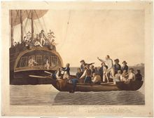 The Mutineers turning Lt Bligh and part of the Officers and Crew adrift from His Majesty's Ship the Bounty, 29th April 1789 by the artist Robert Dodd