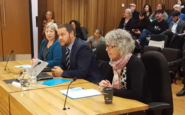 Otautahi Community Housing Trust chief executive Cate Kearney, chair Alex Skinner, and deputy chair Pam Sharpe address the council ahead of the vote.