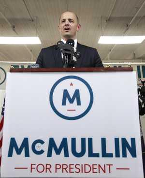 Former CIA agent Evan McMullin announcing his presidential campaign as an Independent candidate.