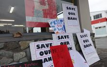 Protests are taking place as Westpac considers closing 19 branches across the country.
