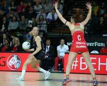 Laura Langman in the Netball Quad Series match between New Zealand and England.