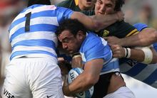 Argentina No.8 Facundo Isa in action in their Rugby Championship match at Padre Ernesto Martearena stadium in Salta, August 27, 2016. 