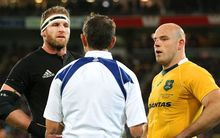 Referee Romain Poite speaks to captains Kieran Read (L) and Stephen Moore, Wellington. 27th August 2016. © Copyright Photo: Grant Down / www.photosport.nz