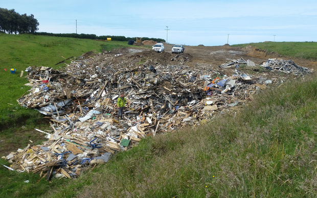 The illegal dump site at Hicks Road, Hawera.