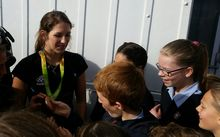 Olympic pole vaulter Eliza McCartney meets students from Belmont Intermediate.