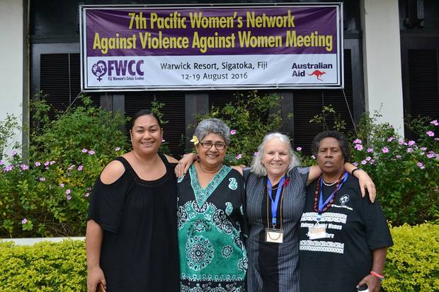 The network holds a meeting every four years to work on ending violence against women in the Pacific region. Shamima Ali is second from the left.