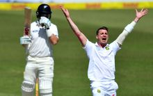 Dale Steyn takes the wicket of Ross Taylor.