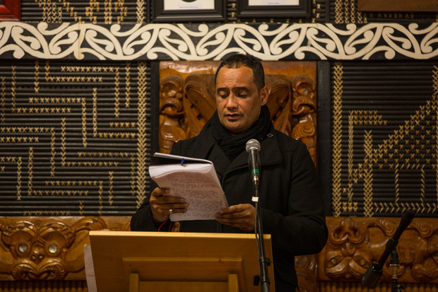 Hurimoana Dennis reads out letters from grateful people who received help from Te Puea Marae. 31 August 2016.