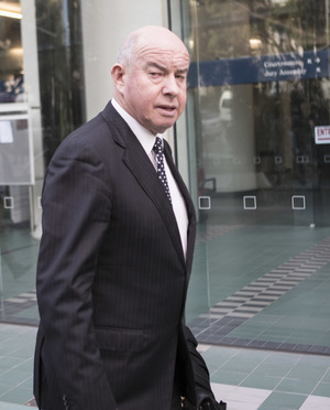 Sir Ngatata Love's defence lawyer Colin Carruthers QC leaving the High Court in Wellington.