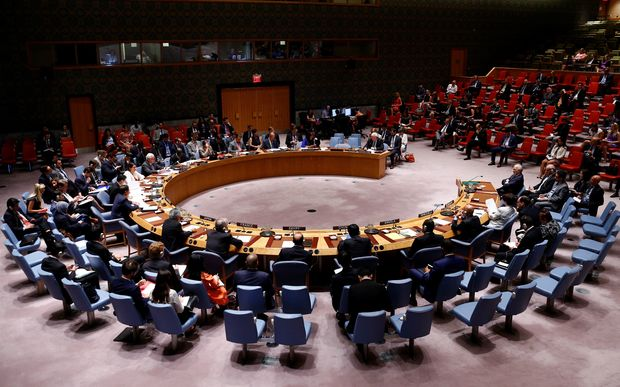 "General view of The United Nations Security Council meeting on ""transportation of humanitarian aid to Syria"" in New York, USA on August 22, 2016."