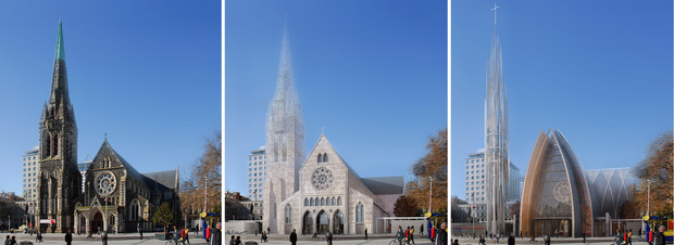 From left: Options are restoration, a traditional church or a contemporary building.