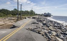 Alligator Point road collapsed during the storm surge from Hurricane Hermine.