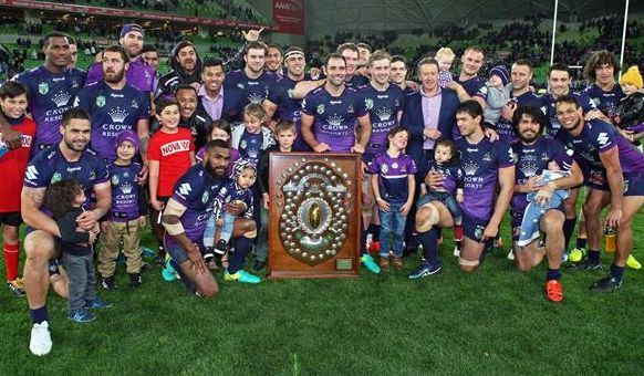 The Melbourne Storm with the 2016 JJ Giltinan Shield
