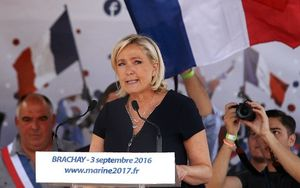 Marine Le Pen address supporters at the French village of Brachay.