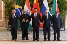 Brazil's President Michel Temer poses with India Prime Minister Narendra Modi, China President Xi Jinping,  Russian President Vladimir Putin and South Africa President Jacob Zuma (R) for a group photo at the West Lake State Guest House in Hangzhou.