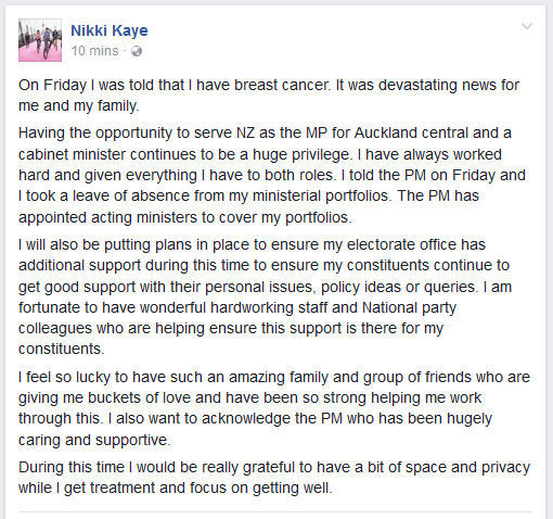 Nikki Kaye is on leave from her ministerial portfolios after a breast cancer diagnosis.