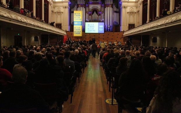 More than 1300 teachers attended the meeting at Auckland's town hall.