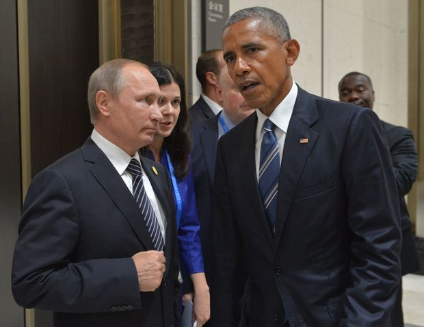 Russian President Vladimir Putin, at left, and US President Barack Obama on the sidelines of the G20 summit in China.September 5, 2016.