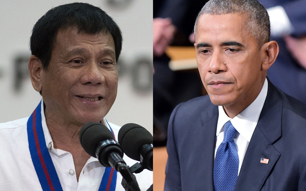 Philippine President Rodrigo Duterte, left, and US President Barack Obama.
