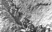 New Zealand infantry in the Switch Line at the Battle of Flers–Courcelette, September 1916.