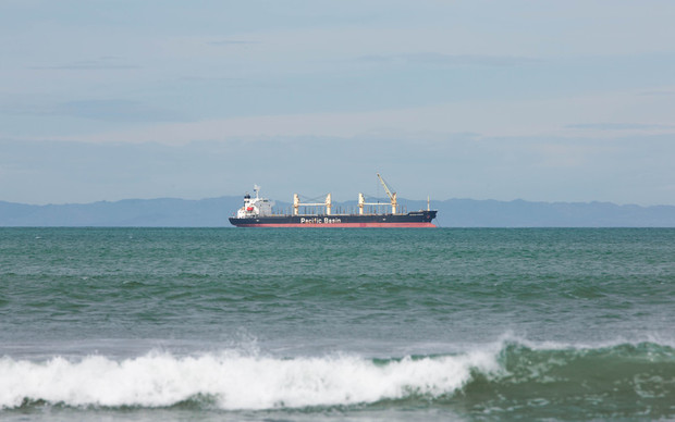 A Pacific Basin Shipping boat on the water in Gisborne the morning of the earlier 7.1 earthquake and subsequent tsunami warning in the area.