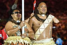 Tonga's Ana Talakai and Sione Manu during the Rio Paralympic Games Opening Ceremony.