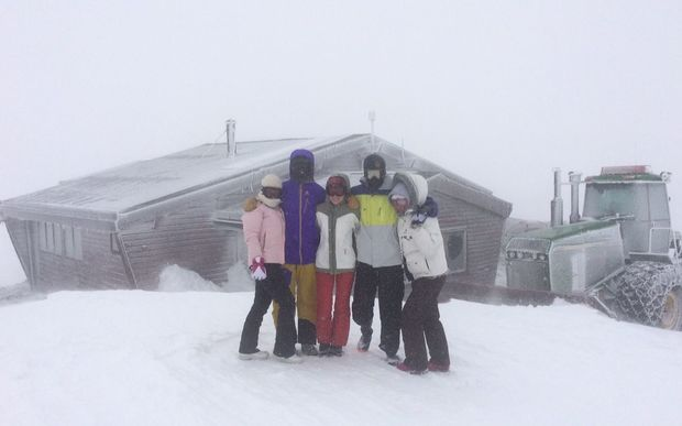 Students from Wellington High are snowed in on Mount Ruapehu's Tukino ski field.
