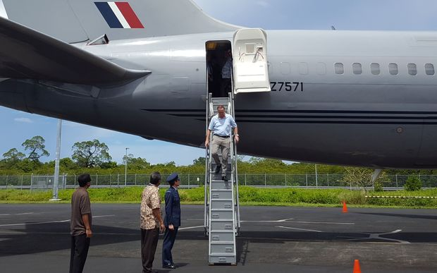 Prime Minister John Key after landing in Pohnpei in the Federated States of Micronesia.