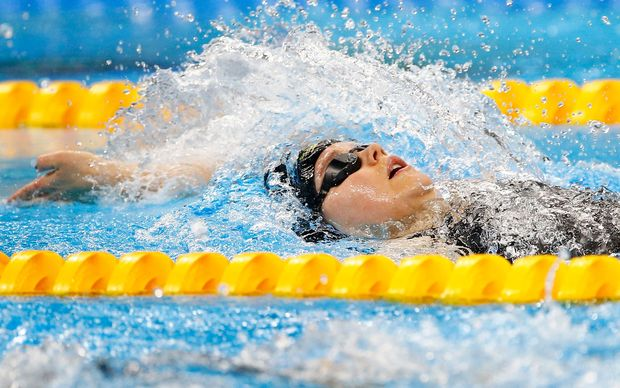 New Zealand's Mary Fisher in action during the Womens 100m Backstroke S11 Swimming at the Rio Paralympics.