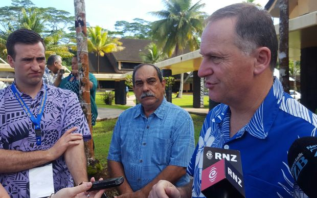 Prime Minister John Key and Federated States of Micronesia President Peter M Christian speak to media before the leaders retreat.