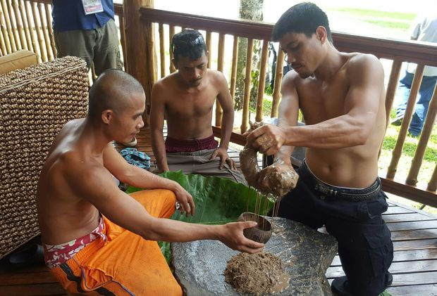 Kava being prepared for leaders at the Pacific Islands Forum.