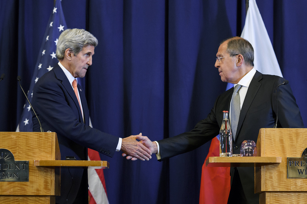 US Secretary of State John Kerry (left) and Russian Foreign Minister Sergei Lavrov at the end of a press conference closing meetings to discuss the Syrian crisis.