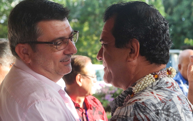 The president of New Caledonia, Philippe Germain, and the president of French Polynesia, Edouard Fritch, after their territories were admitted as full members of the Pacific Islands Forum.
